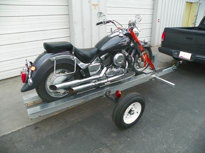 Loaded Motorcycle on Trailer